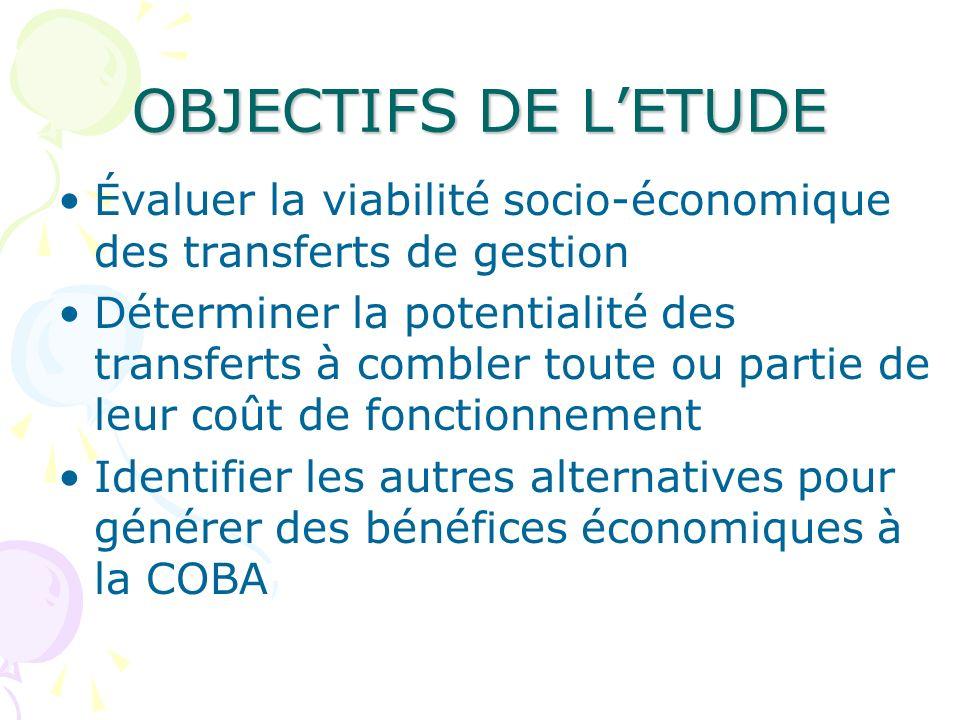 OBJECTIFS DE L'ETUDEÉvaluer la viabilité socio-économique des transferts de gestion.