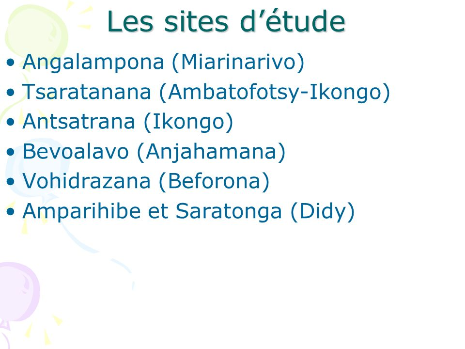 Les sites d'étude Angalampona (Miarinarivo)