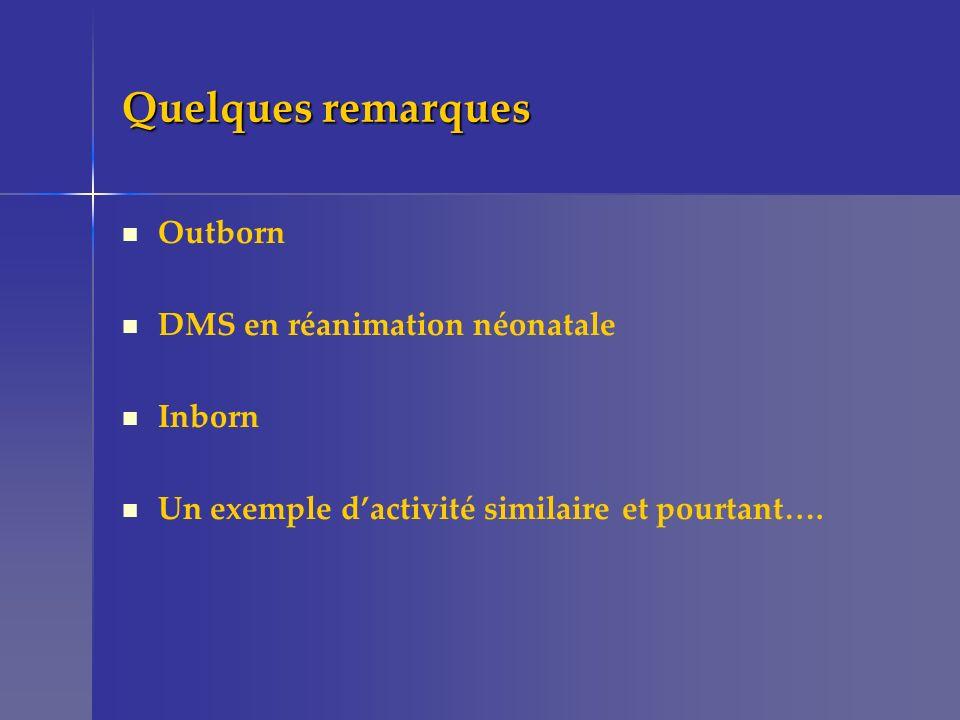 Quelques remarques Outborn DMS en réanimation néonatale Inborn