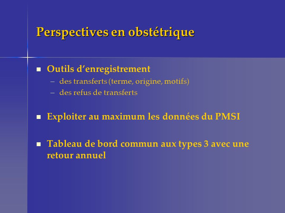 Perspectives en obstétrique