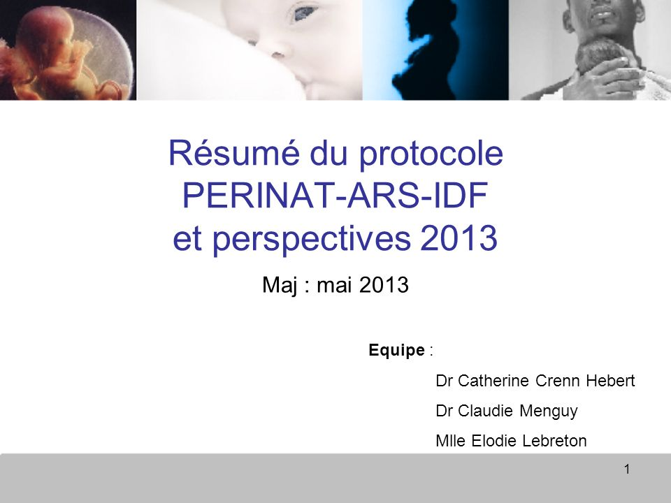 Résumé du protocole PERINAT-ARS-IDF et perspectives 2013