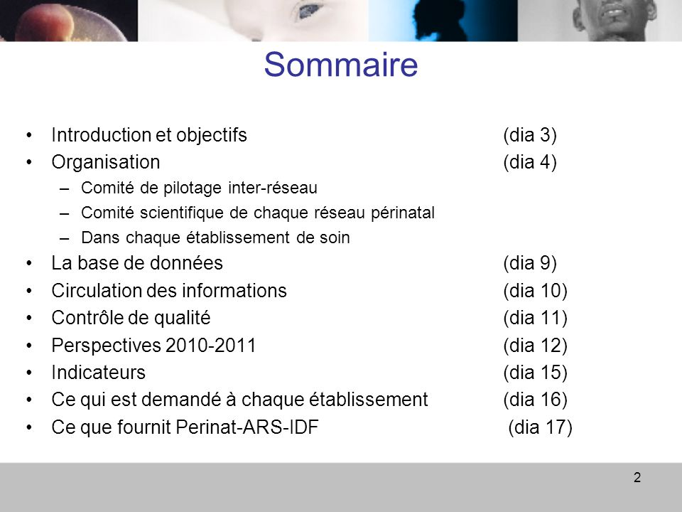 Sommaire Introduction et objectifs (dia 3) Organisation (dia 4)