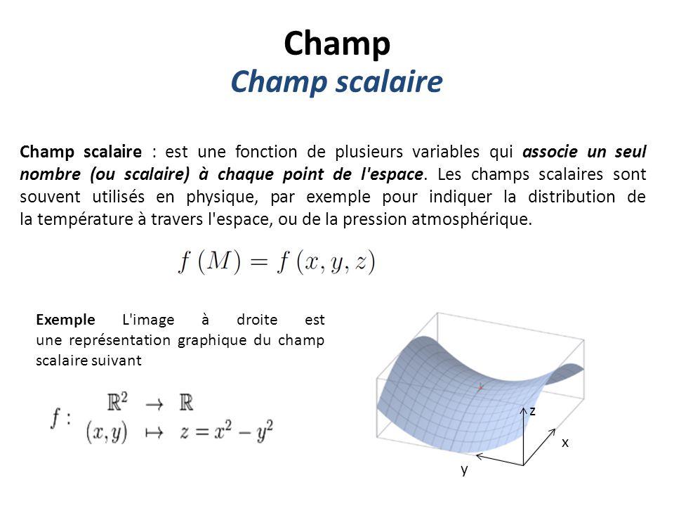 Champ Champ scalaire.