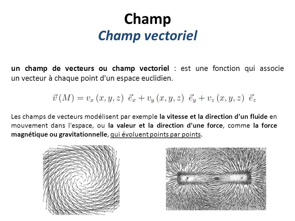 Champ Champ vectoriel. un champ de vecteurs ou champ vectoriel : est une fonction qui associe un vecteur à chaque point d un espace euclidien.