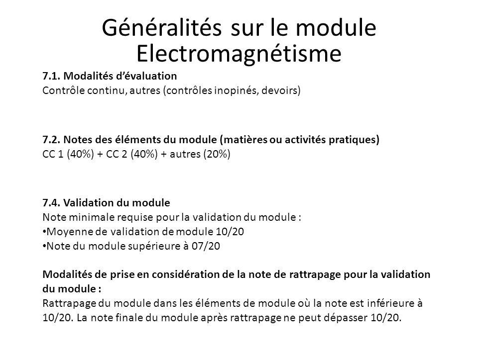 Généralités sur le module Electromagnétisme