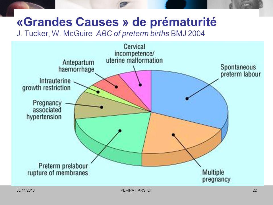 «Grandes Causes » de prématurité J. Tucker, W