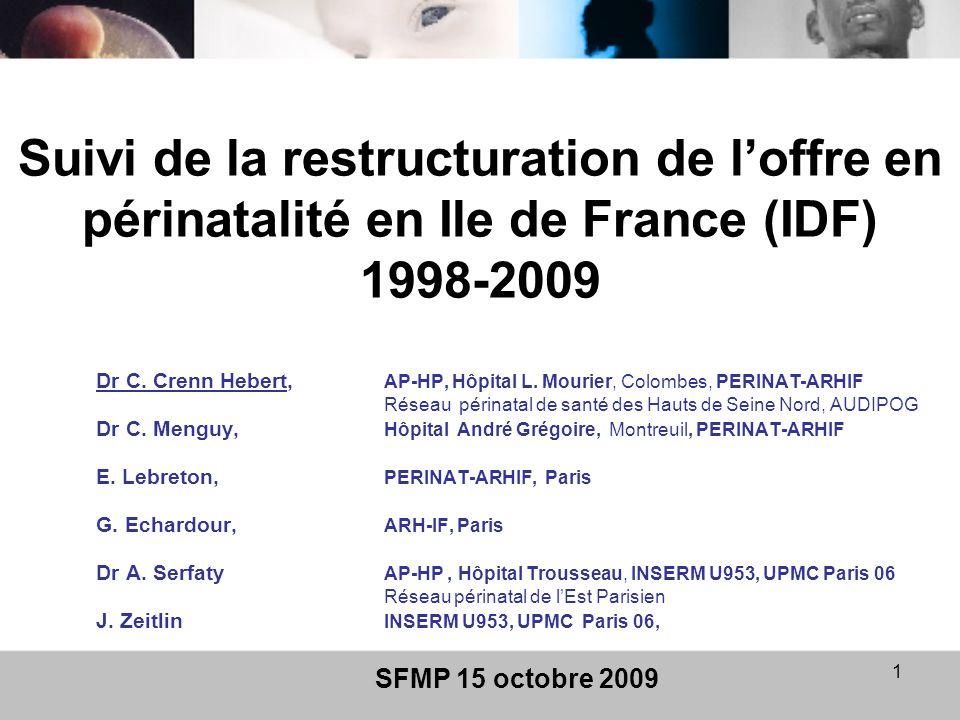 Suivi de la restructuration de l'offre en périnatalité en Ile de France (IDF) 1998-2009