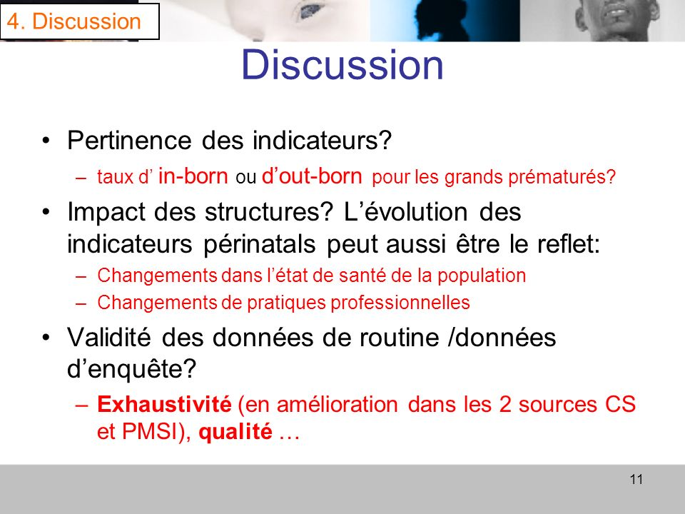 Discussion Pertinence des indicateurs