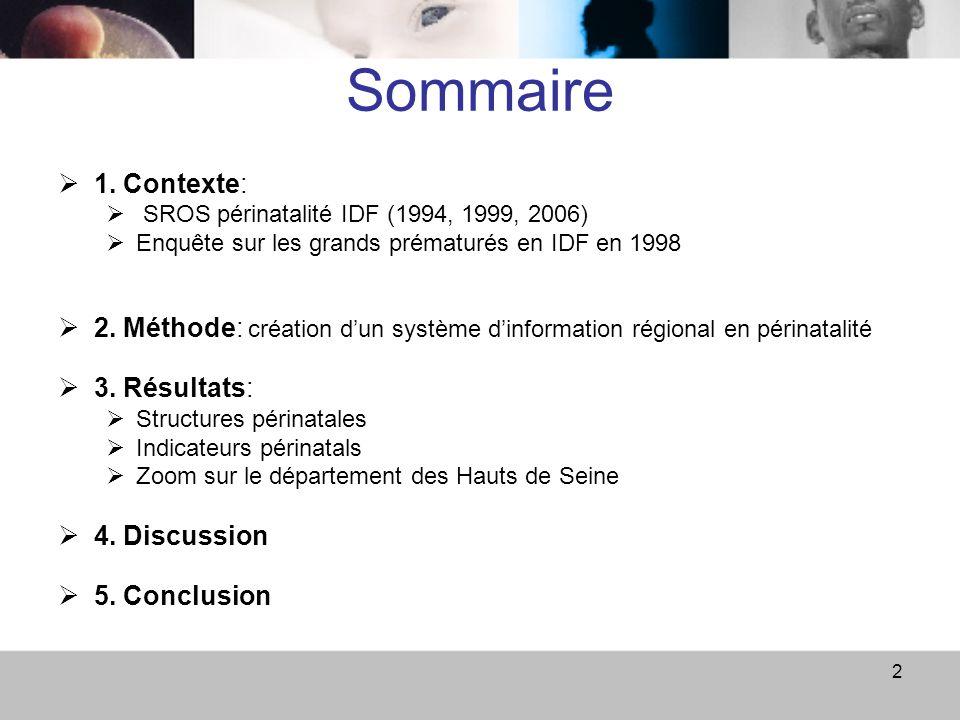 Sommaire 1. Contexte: SROS périnatalité IDF (1994, 1999, 2006) Enquête sur les grands prématurés en IDF en 1998.