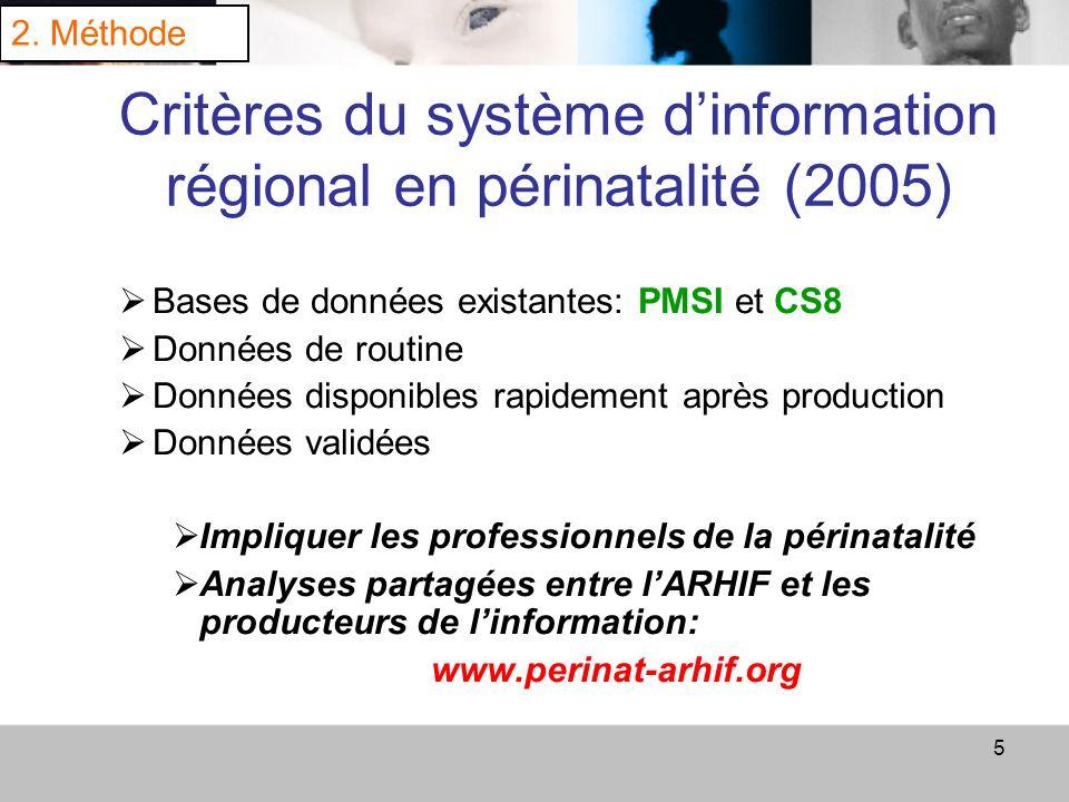 Critères du système d'information régional en périnatalité (2005)