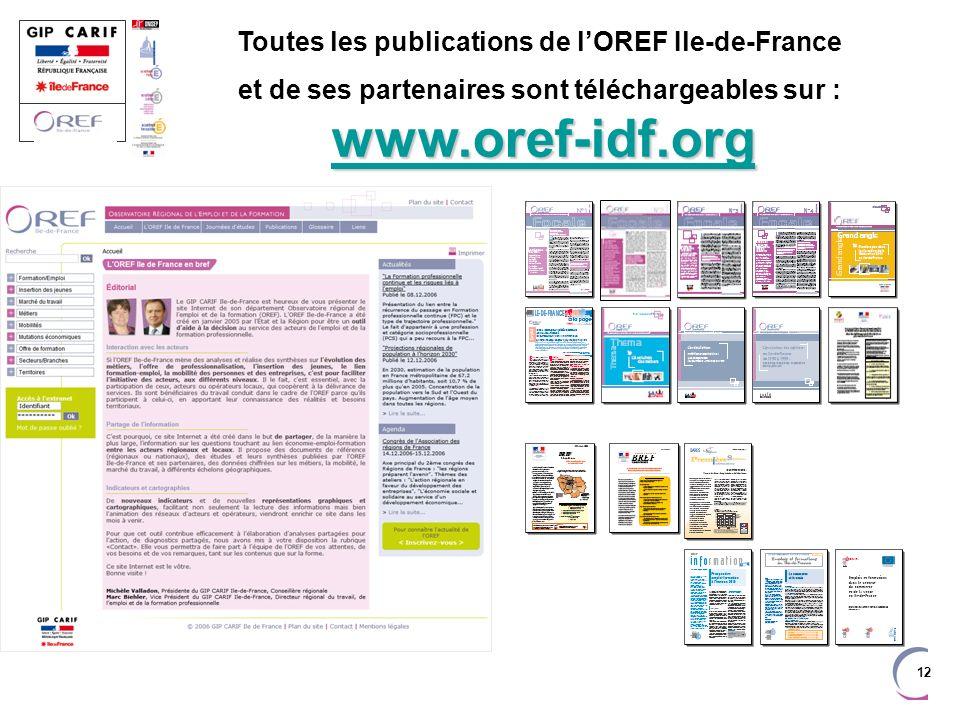 Toutes les publications de l'OREF Ile-de-France