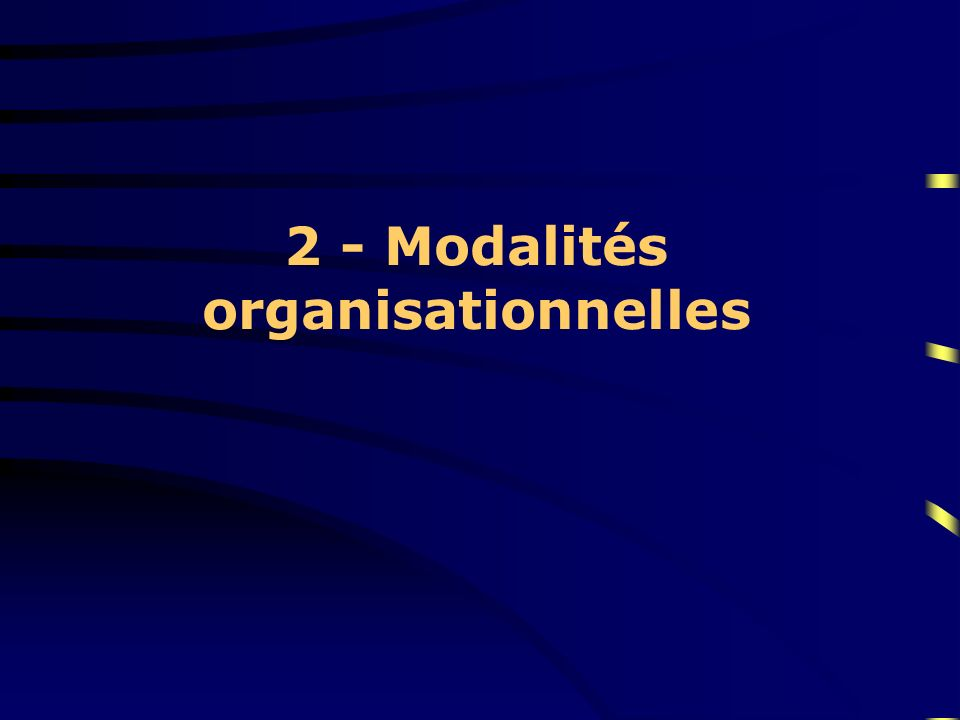 2 - Modalités organisationnelles