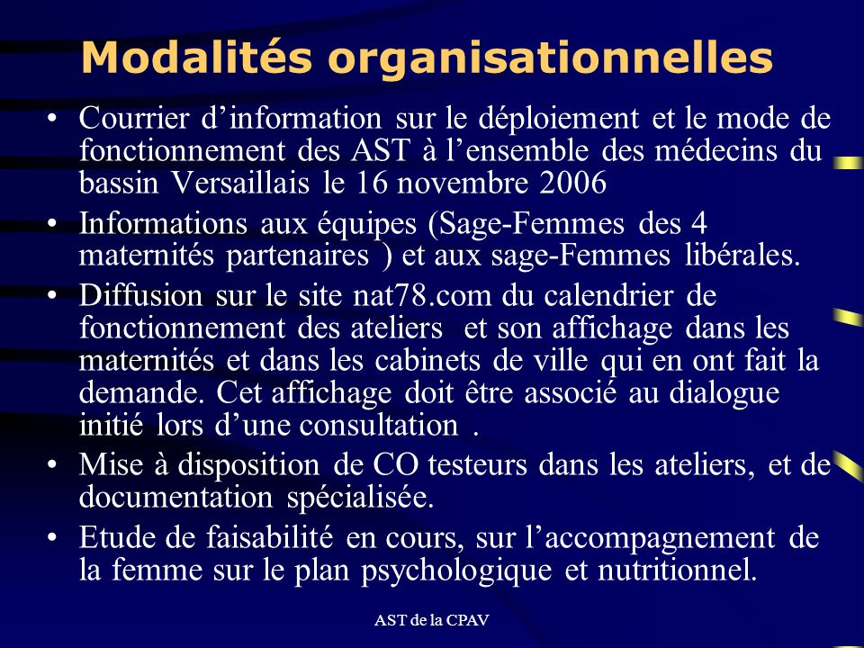 Modalités organisationnelles