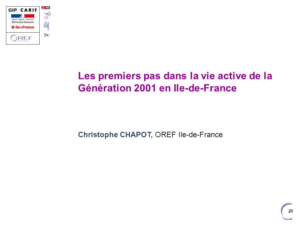 Les premiers pas dans la vie active de la Génération 2001 en Ile-de-France