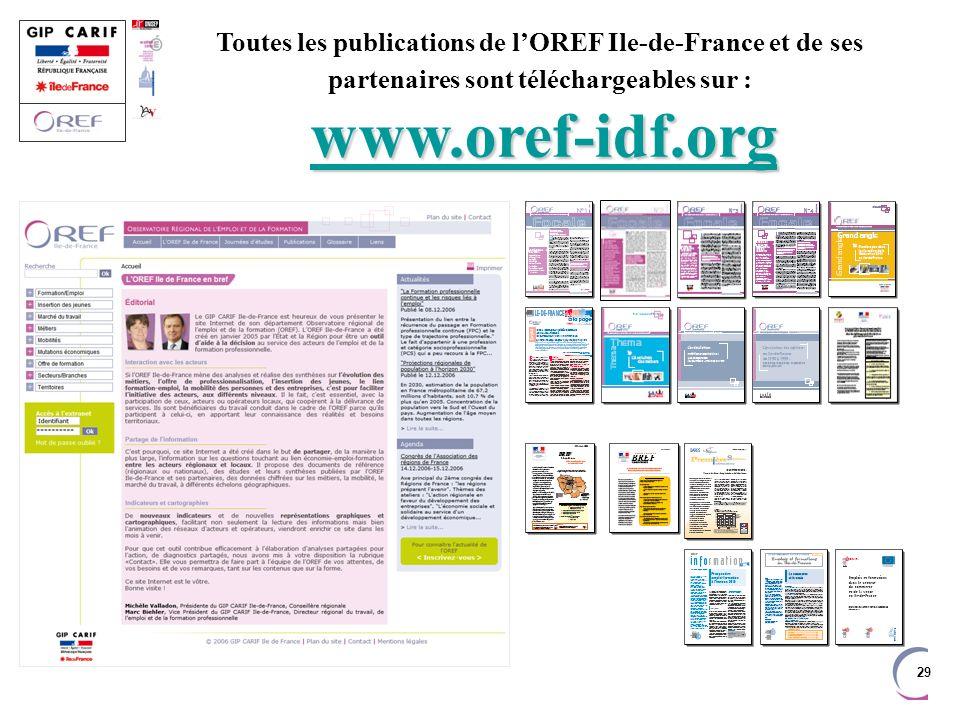 Toutes les publications de l'OREF Ile-de-France et de ses partenaires sont téléchargeables sur : www.oref-idf.org