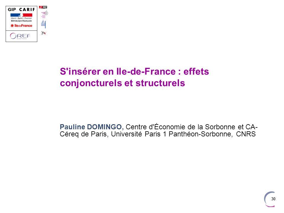 S insérer en Ile-de-France : effets conjoncturels et structurels