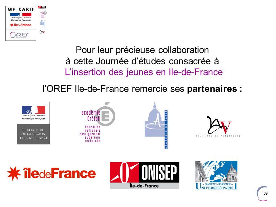 l'OREF Ile-de-France remercie ses partenaires :