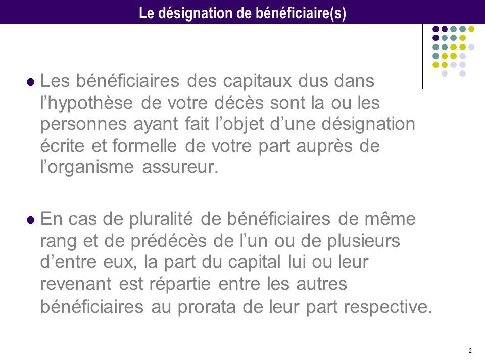 Le désignation de bénéficiaire(s)