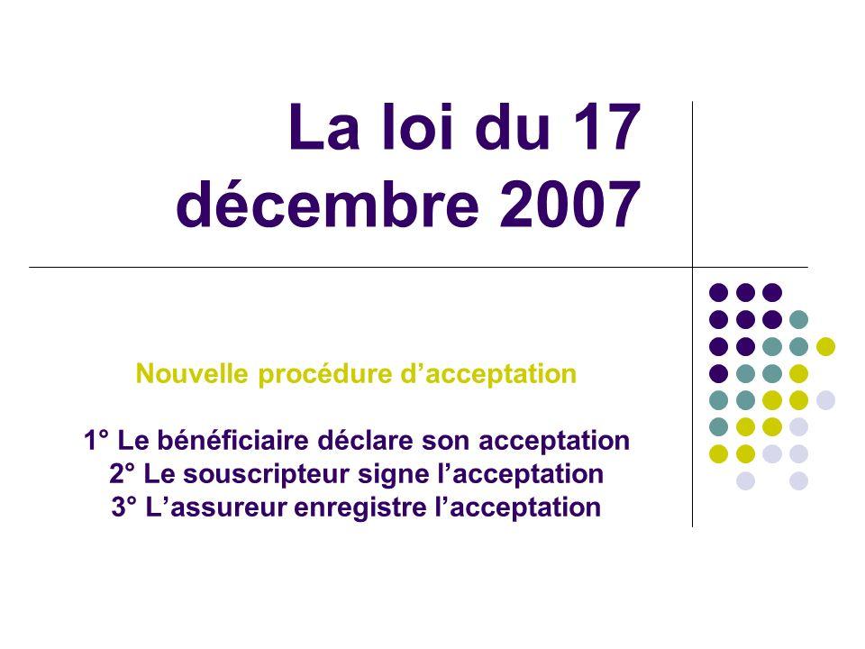 La loi du 17 décembre 2007 Nouvelle procédure d'acceptation