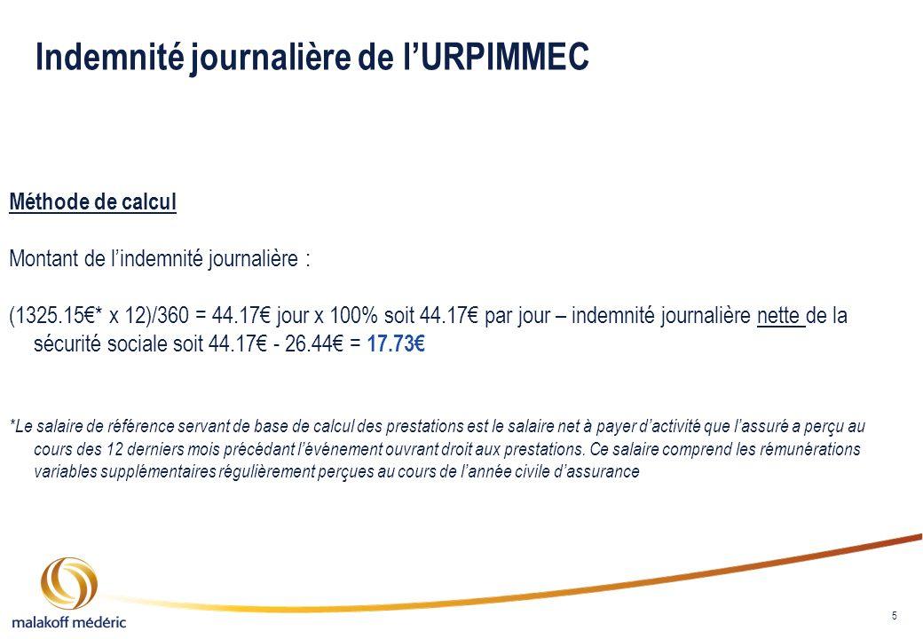 Indemnité journalière de l'URPIMMEC