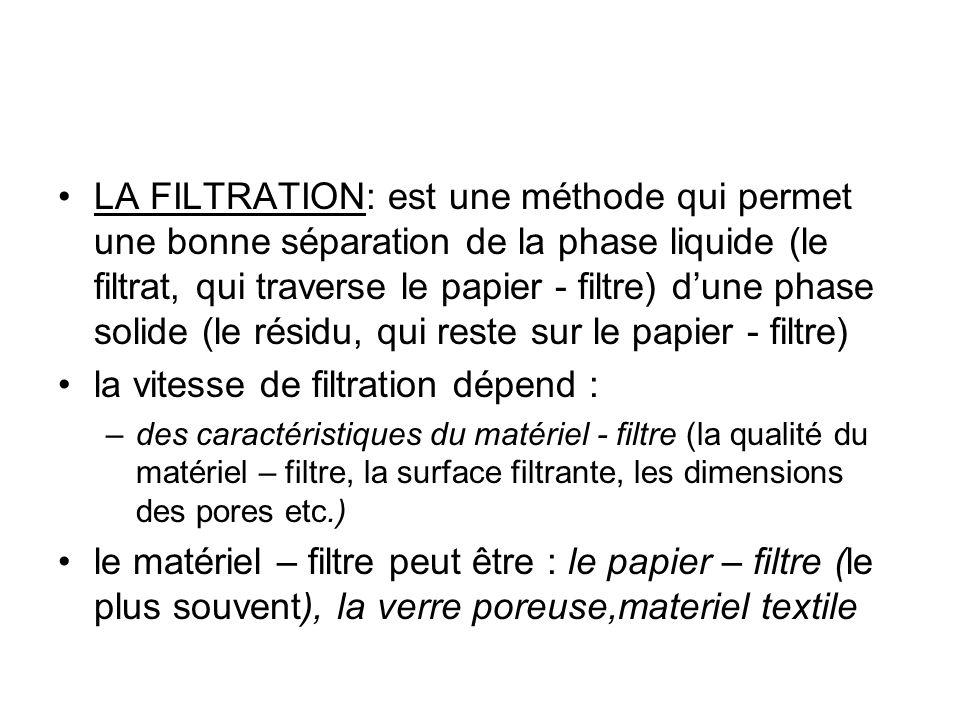 la vitesse de filtration dépend :
