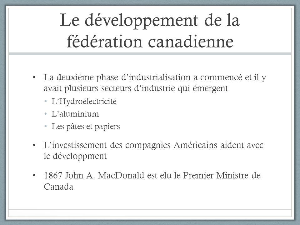 Le développement de la fédération canadienne