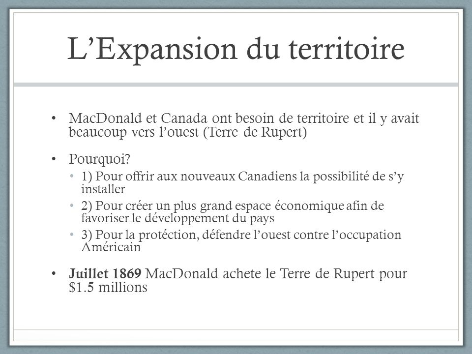 L'Expansion du territoire