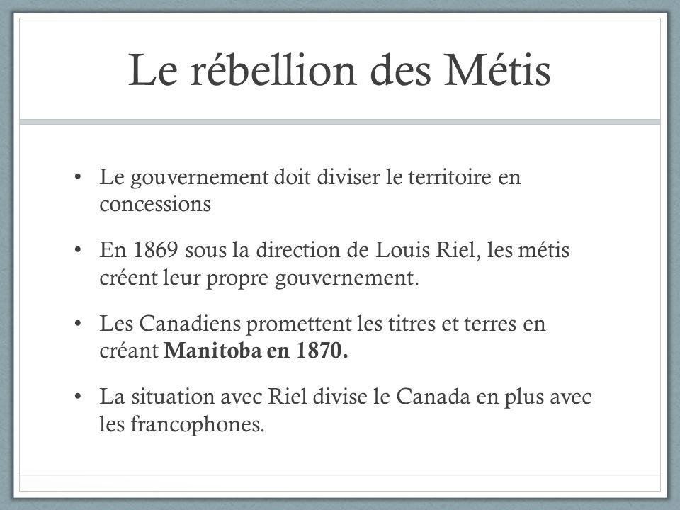 Le rébellion des Métis Le gouvernement doit diviser le territoire en concessions.