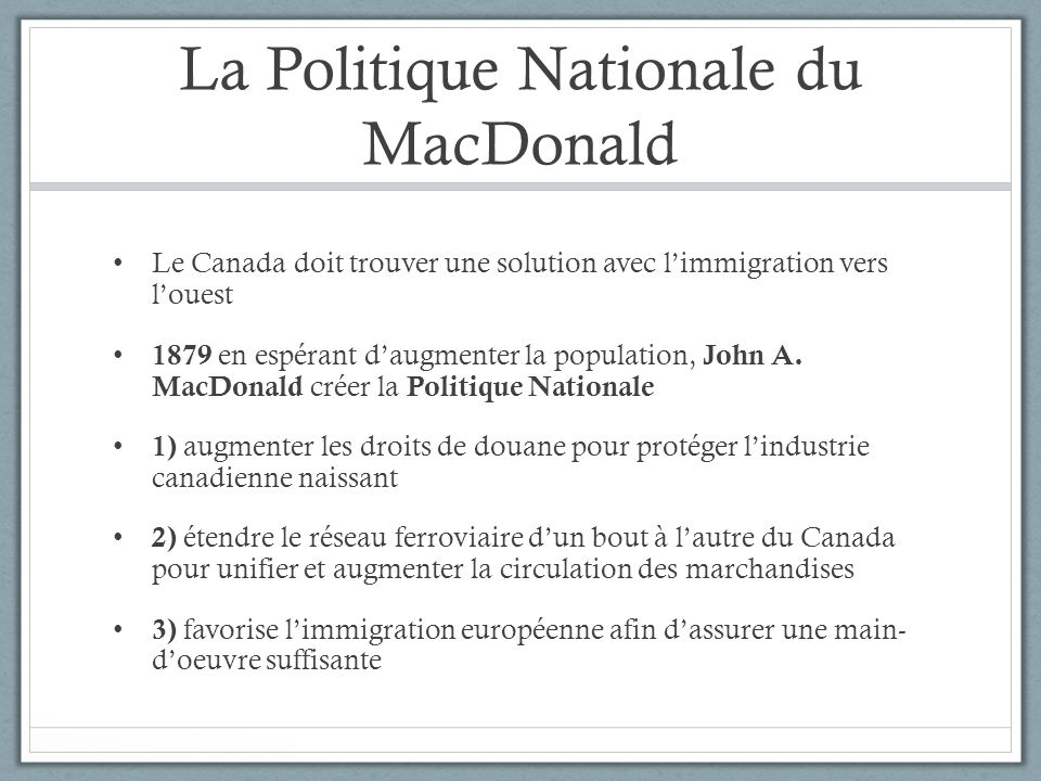 La Politique Nationale du MacDonald