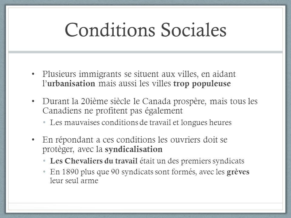 Conditions Sociales Plusieurs immigrants se situent aux villes, en aidant l'urbanisation mais aussi les villes trop populeuse.