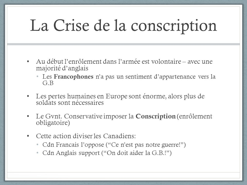 La Crise de la conscription