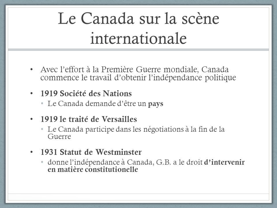 Le Canada sur la scène internationale