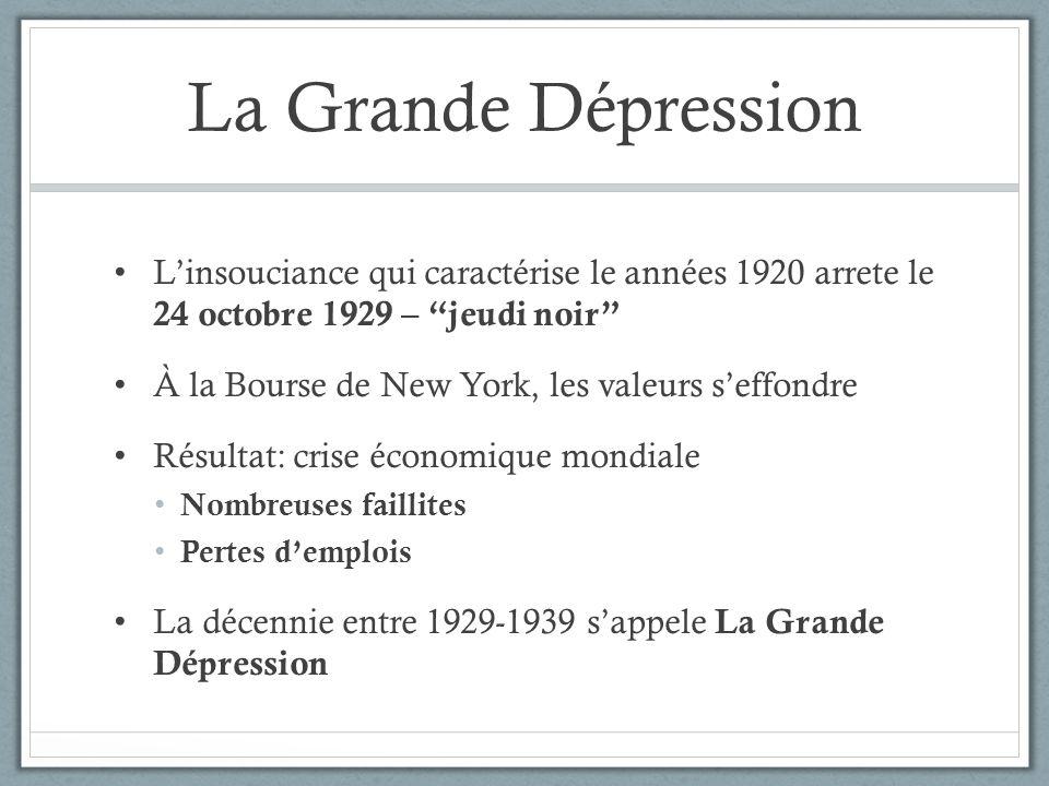 La Grande Dépression L'insouciance qui caractérise le années 1920 arrete le 24 octobre 1929 – jeudi noir