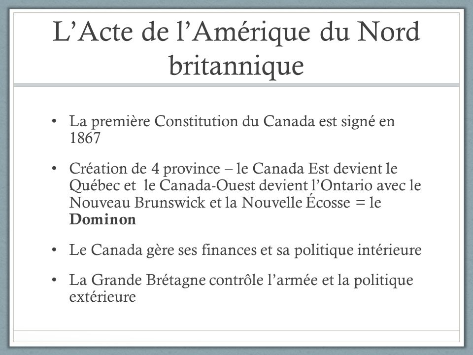 L'Acte de l'Amérique du Nord britannique