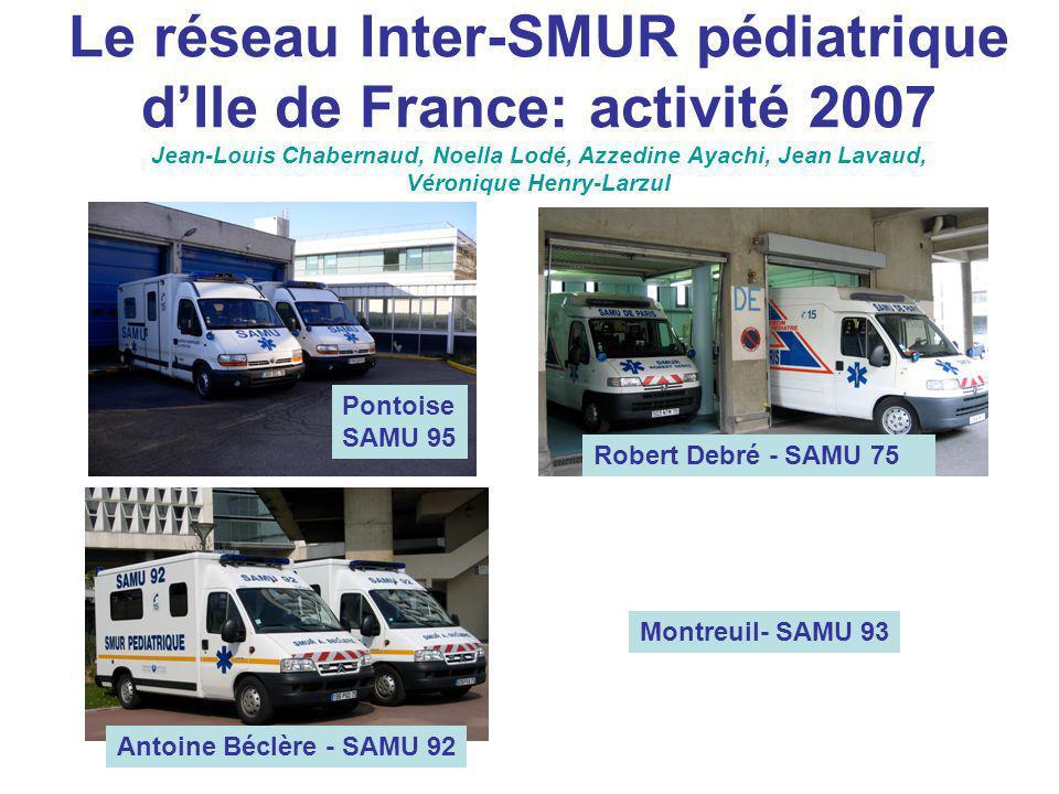 Le réseau Inter-SMUR pédiatrique d'Ile de France: activité 2007 Jean-Louis Chabernaud, Noella Lodé, Azzedine Ayachi, Jean Lavaud, Véronique Henry-Larzul