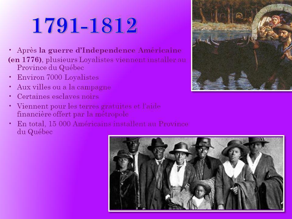 1791-1812 Après la guerre d'Independence Américaine