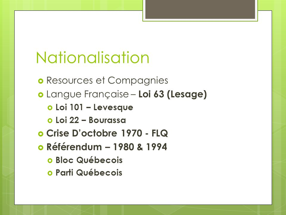 Nationalisation Resources et Compagnies
