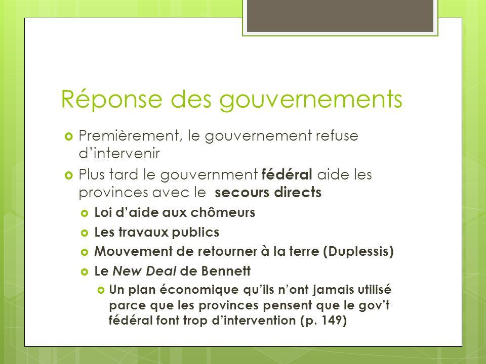 Réponse des gouvernements