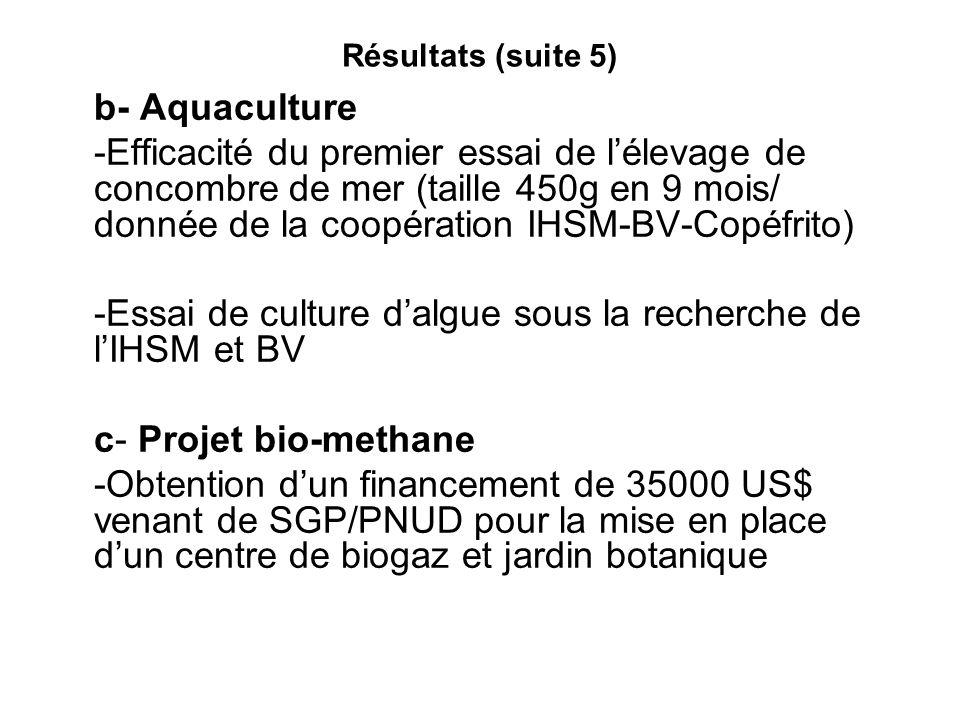 -Essai de culture d'algue sous la recherche de l'IHSM et BV