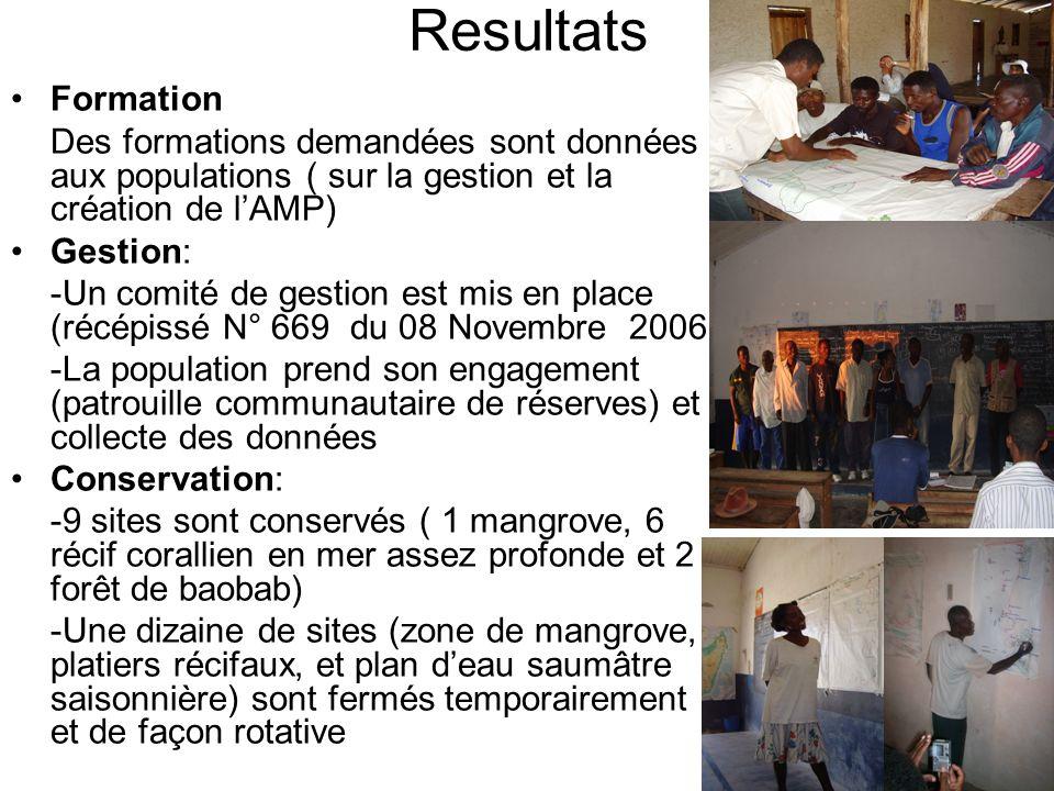 Resultats Formation. Des formations demandées sont données aux populations ( sur la gestion et la création de l'AMP)