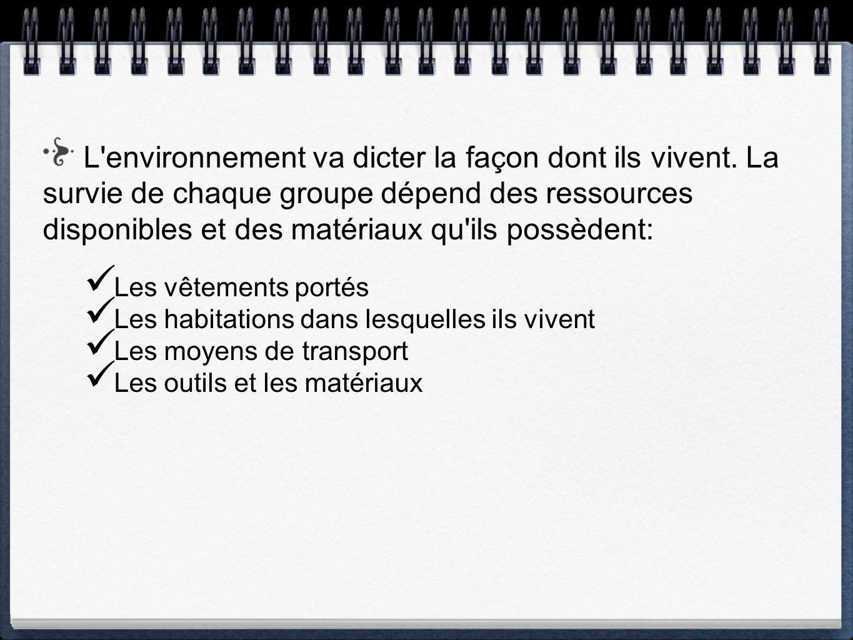 L environnement va dicter la façon dont ils vivent