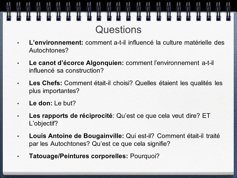 Questions L'environnement: comment a-t-il influencé la culture matérielle des Autochtones