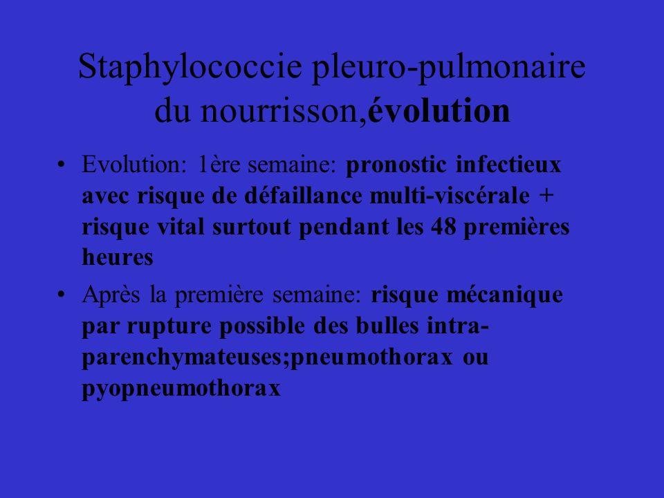 Staphylococcie pleuro-pulmonaire du nourrisson,évolution