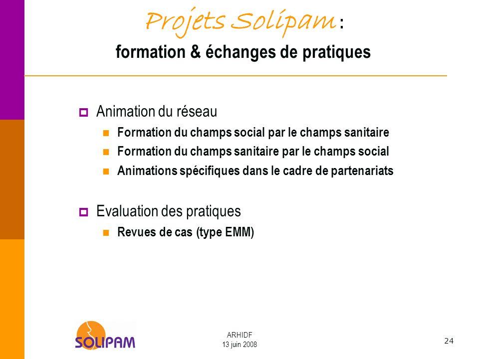 Projets Solipam : formation & échanges de pratiques