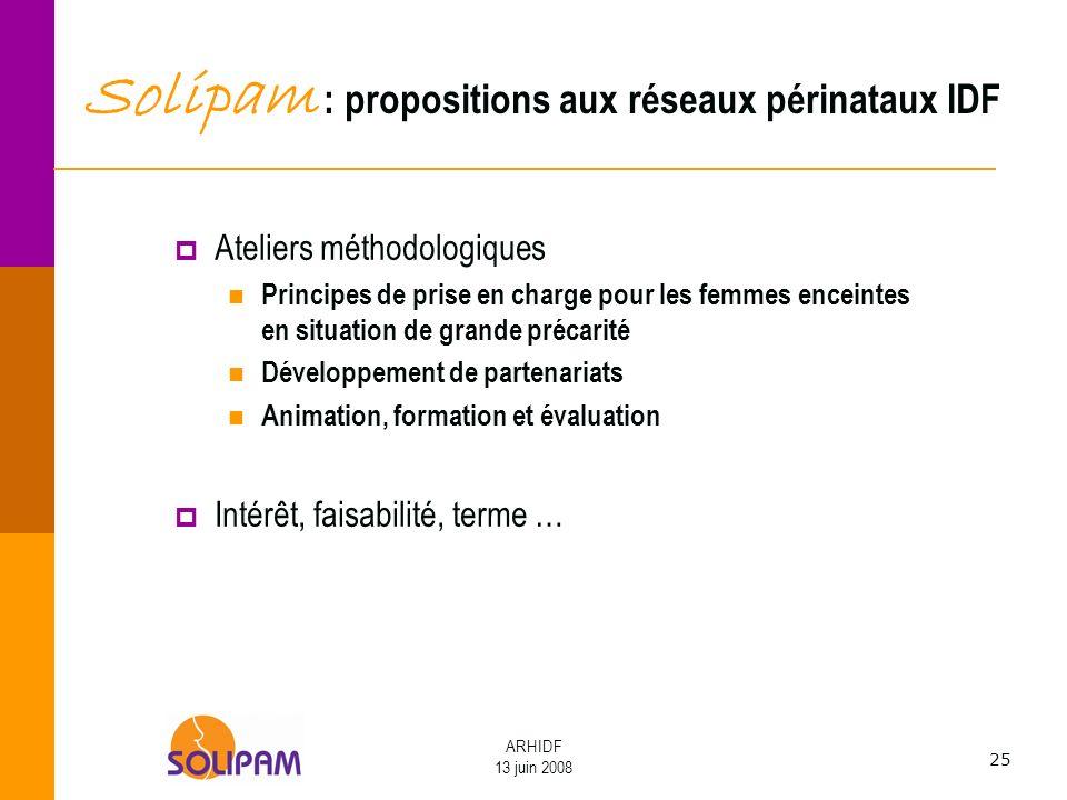 Solipam : propositions aux réseaux périnataux IDF