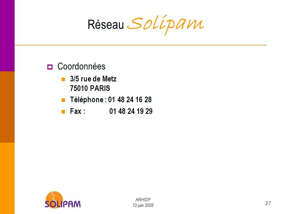 Réseau Solipam Coordonnées 3/5 rue de Metz 75010 PARIS