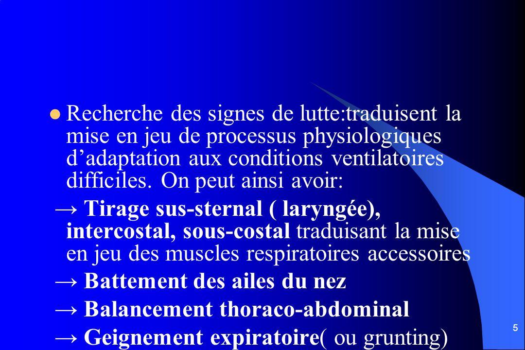 Recherche des signes de lutte:traduisent la mise en jeu de processus physiologiques d'adaptation aux conditions ventilatoires difficiles. On peut ainsi avoir: