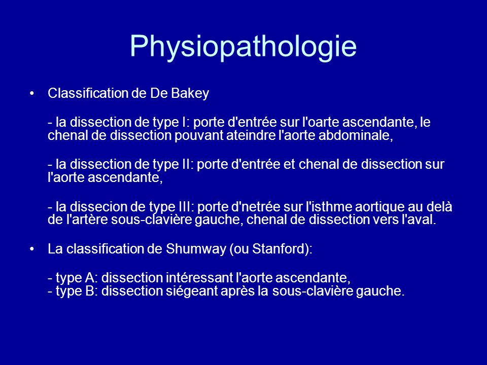 Physiopathologie Classification de De Bakey