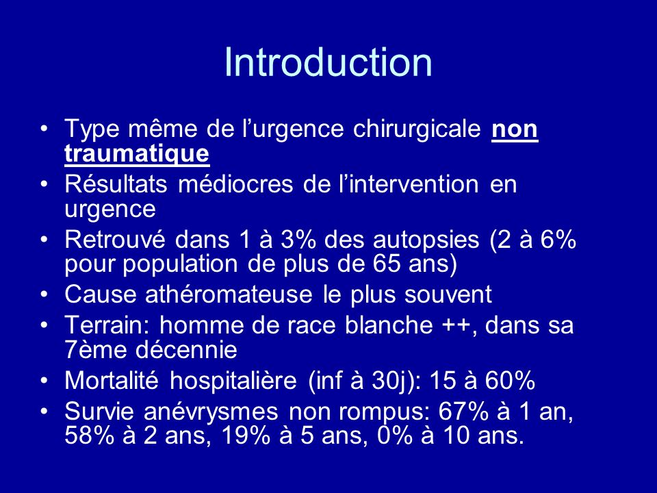 Introduction Type même de l'urgence chirurgicale non traumatique