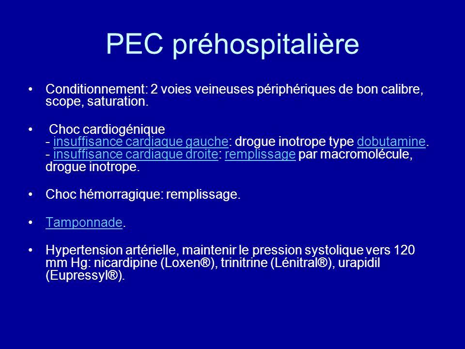 PEC préhospitalière Conditionnement: 2 voies veineuses périphériques de bon calibre, scope, saturation.